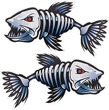 CLISPEED 2pcs Vinyl Bone Fish Sticker Kayak Fishing Car Decals AutoNotebook Laptop Decal Sticker