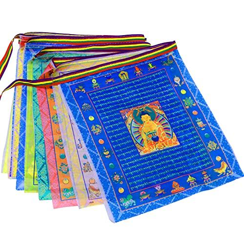 Tibetan Buddhist Prayer Flags Outdoor Meditation Flag-Traditional Five Elements 40pcs Satin Wind Horse Lungta Prayer Flags,11x14 inches