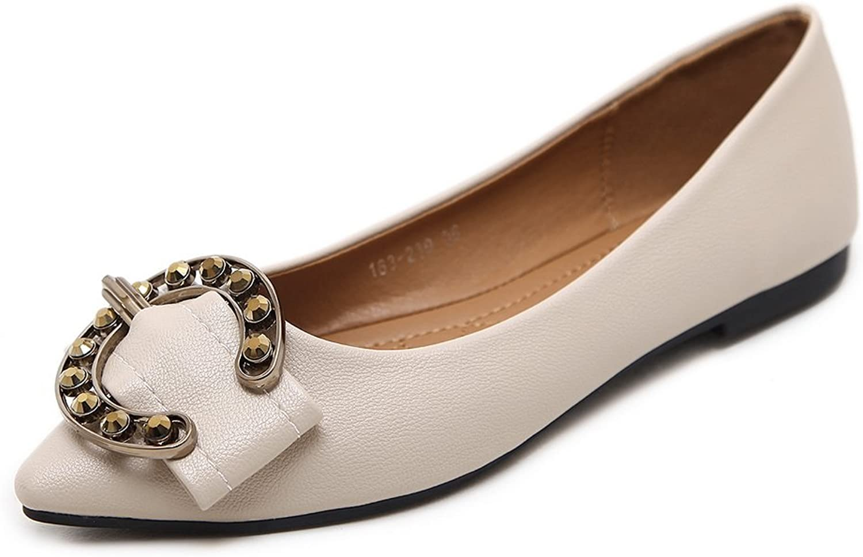 AdeeSu Womens Pointed-Toe Buckle Charms Urethane Flats shoes