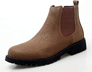 Bin Zhang Chelsea Boots for Men Short Tube Shoes Round Toe Pull on Genuine Leather with Texture Elastic Band Soft Lining Stitch Anti-Slip (Fleece Lined Option) (Color : Brown, Size : 9.5 UK)