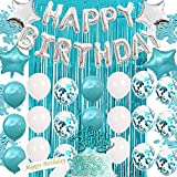 Teal Blue Birthday Decorations for Women Girl- Teal Blue Balloons,Teal Blue and Silver with Photo Booth Backdrop ,Cake Topper, Birthday Sash,Confetti Balloons,Happy Bday Banner