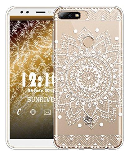 Huawei Y7 2018 / Honor 7C Hülle Silikon, Transparent Handyhülle Schutzhülle Etui Case für Huawei Y7 2018 / Honor 7C(TPU Blume Weiße)+Gratis Universal Eingabestift