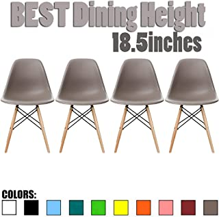2xhome Set of 4 Taupe Gray Mid Country Modern Molded Shell Designer Assemble Plastic Chair Side No Arms Wheels Armless Chairs Natural Wood Wooden Eiffel for Dining Room Bedroom Kitchen Accent