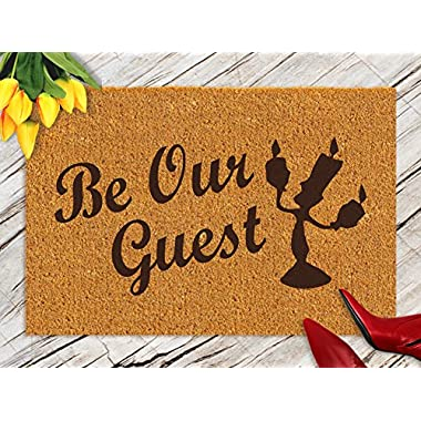 DKISEE Indoor Outdoor Entrance Rug Floor Mat Bathmat Beauty And The Beast  Rubber Doormat, 18 x30