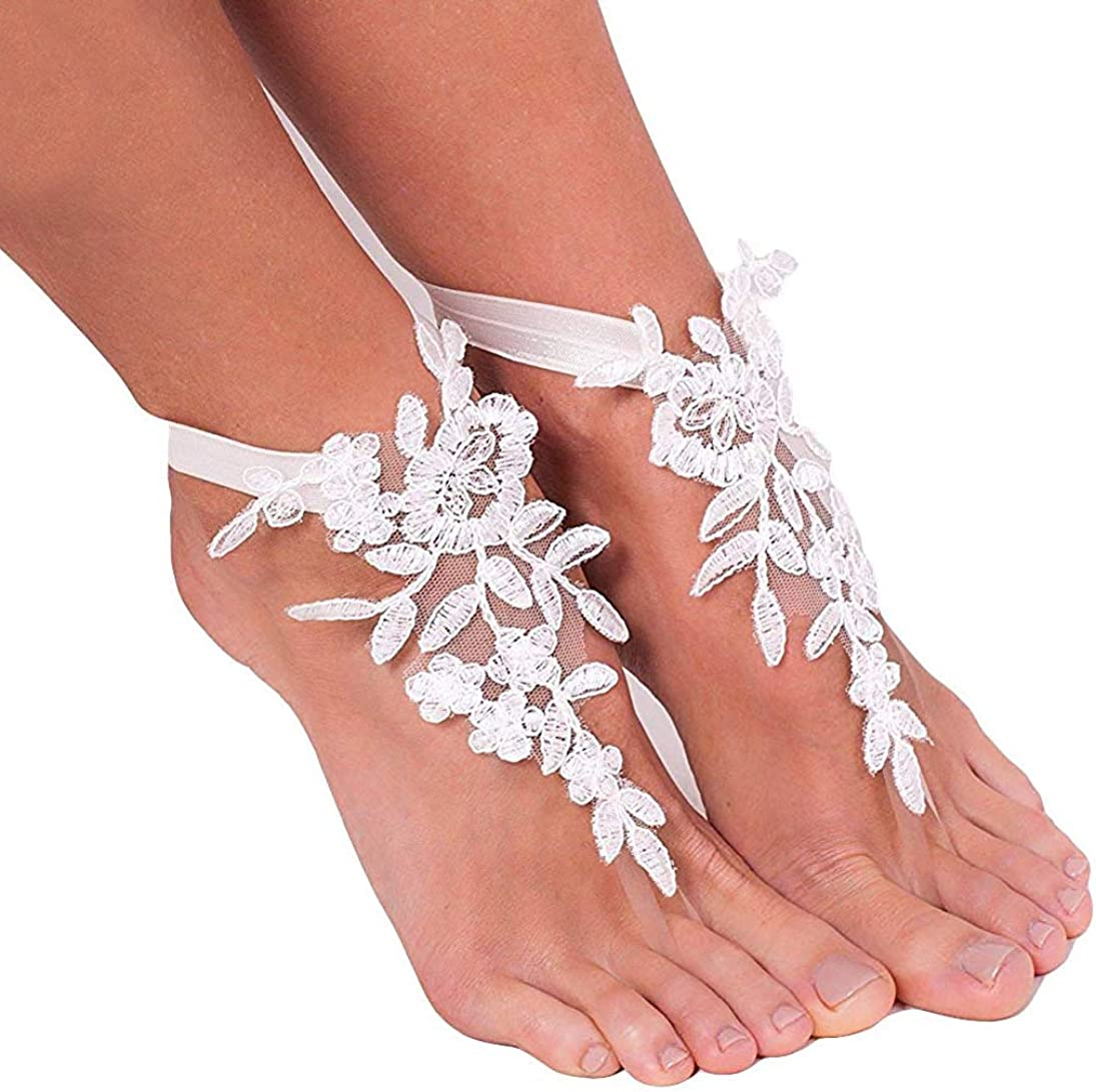 Fenghuavip Lace Barefoot Sandals Beach Ankle Bracelets for Wedding