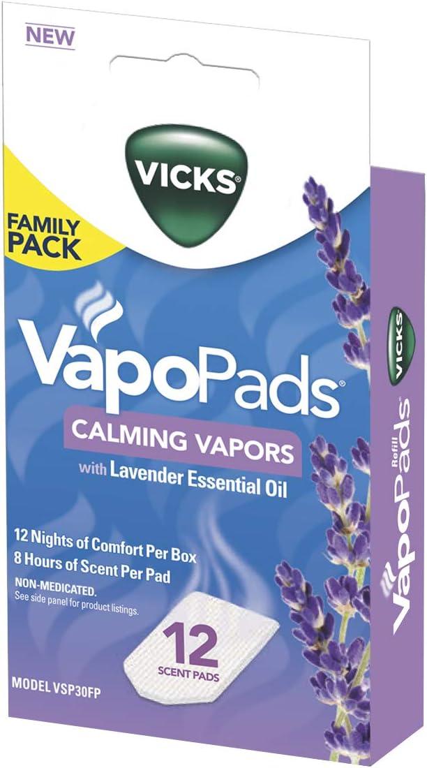 Vicks Calming Lavender VapoPad Family Pack, 12 Count : Health & Household