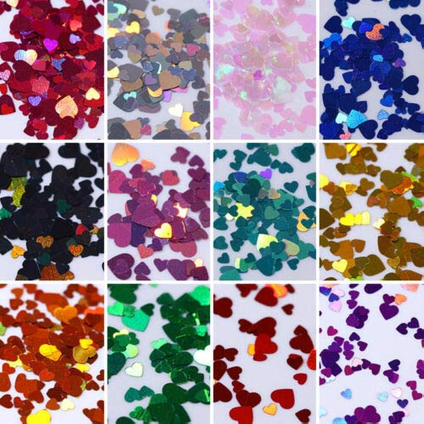 FidgetGear 12箱カラフルなホログラフィックネイルアートグリッタースパンコール虹色のハートフレーク