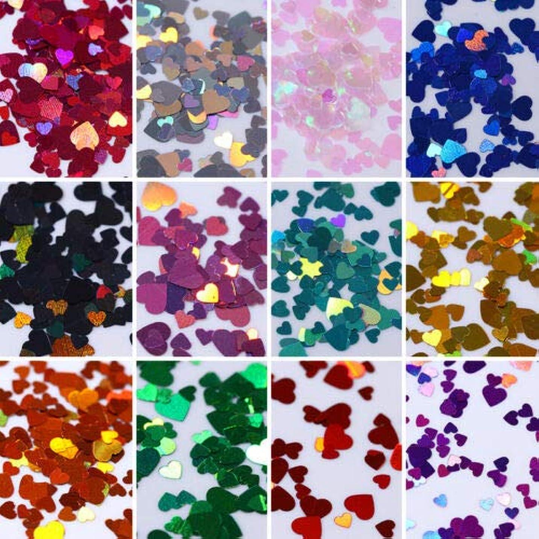 青写真全能絶えずFidgetGear 12箱カラフルなホログラフィックネイルアートグリッタースパンコール虹色のハートフレーク