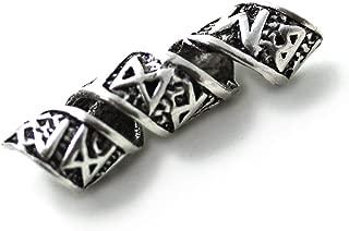 LynnAround 925 Sterling Silver Norse Viking Celtic Runes Beard Rings, Dreadlock Pirate Hair Beads, Pagan Jewelry