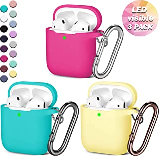 GEAK AirPods Case, (Front LED Visible), Anti-Dust Shockproof Protective Silicone Case Cover with Keychain Compatible for Apple AirPods 1 & 2 Wireless Charging Case, Rose Pink/Teal/Milk Yellow