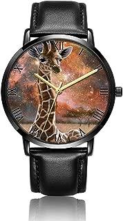 Customized Eye Wrist Watch, Black Leather Watch Band Black Dial Plate Fashionable Wrist Watch for Women or Men