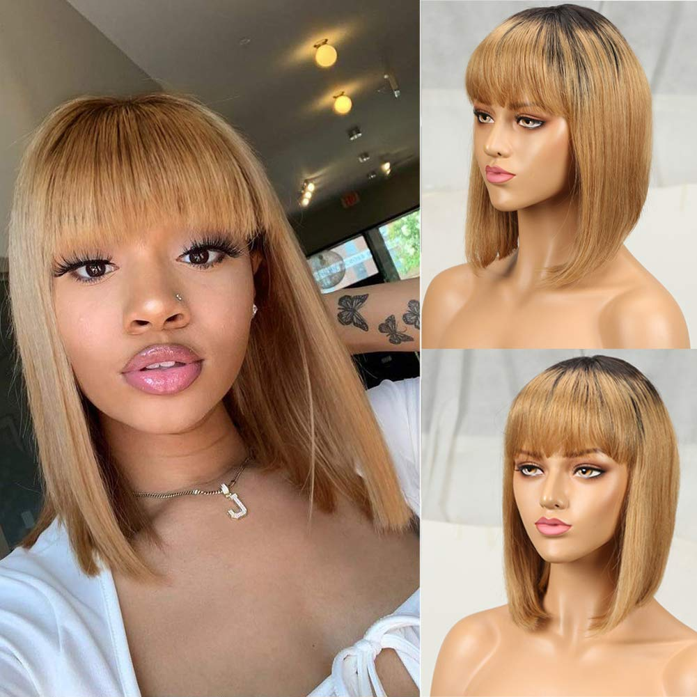 Ombre Short Bob Wigs Las Vegas Mall 55% OFF with Bangs Density 130% Women Black for 9A