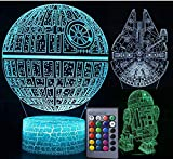 3D Star Wars Lamp - Star Wars Gifts - 3 Pattern & 1 Base & 1 Remote - Star Wars R2-D2 / Death Star/Millennium Falcon - Star Wars Light - Star Wars con control remoto