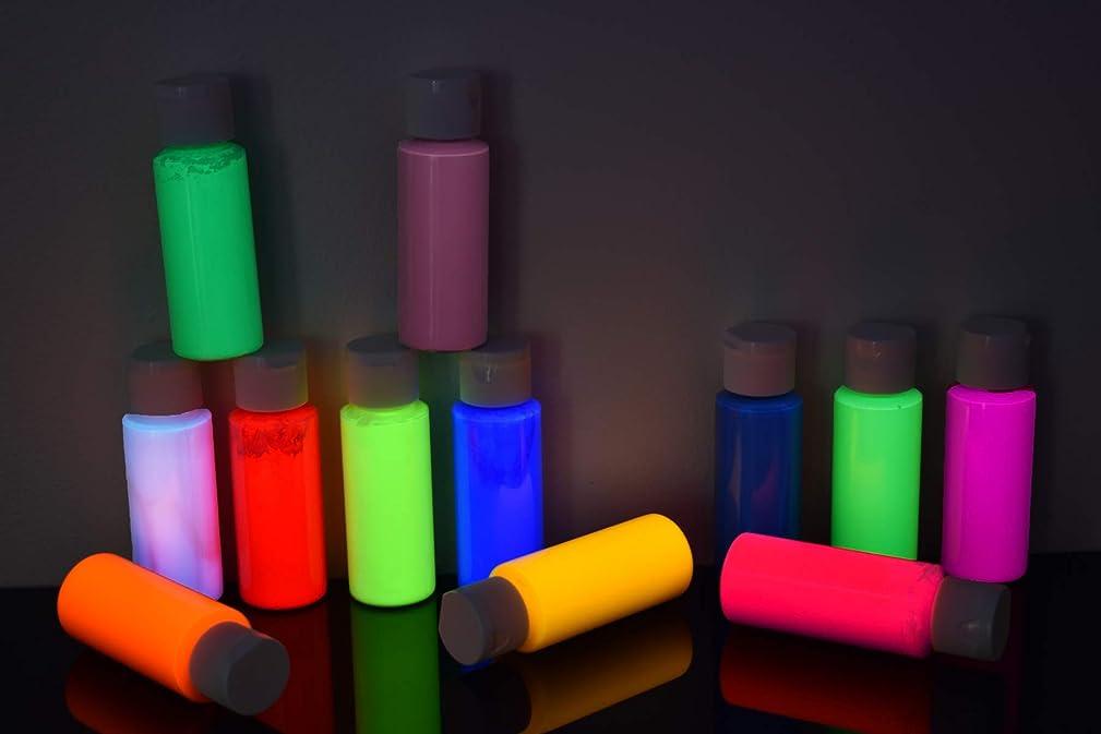 DirectGlow 2oz UV Blacklight Reactive Fluorescent Acrylic Paints (12 Color Assortment)