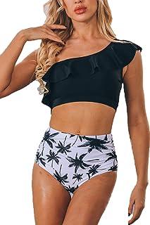 ioiom Women Two Piece Swimsuit High Waisted One Shoulder Ruffled Bikini Set