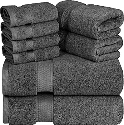 Premium 700 GSM 8 Piece Towel Set; 2 Bath Towels, 2 Hand Towels and 4 Washcloths - Cotton - Machine Washable, Hotel Quality, Super Soft and Highly Absorbent by Utopia Towels (Dark Grey)