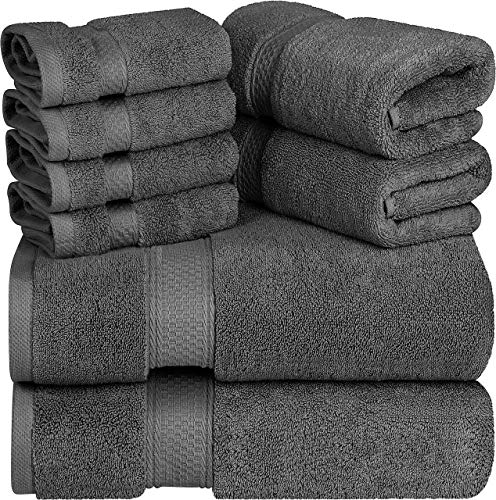 Utopia Towels  Premium Towel Set Grey  2 Bath Towels 2 Hand Towels and 4 Washcloths  700 GSM 100% Premium Ring Spun Cotton Highly Absorbent Towels for Bathroom Shower Towel 8 Pieces