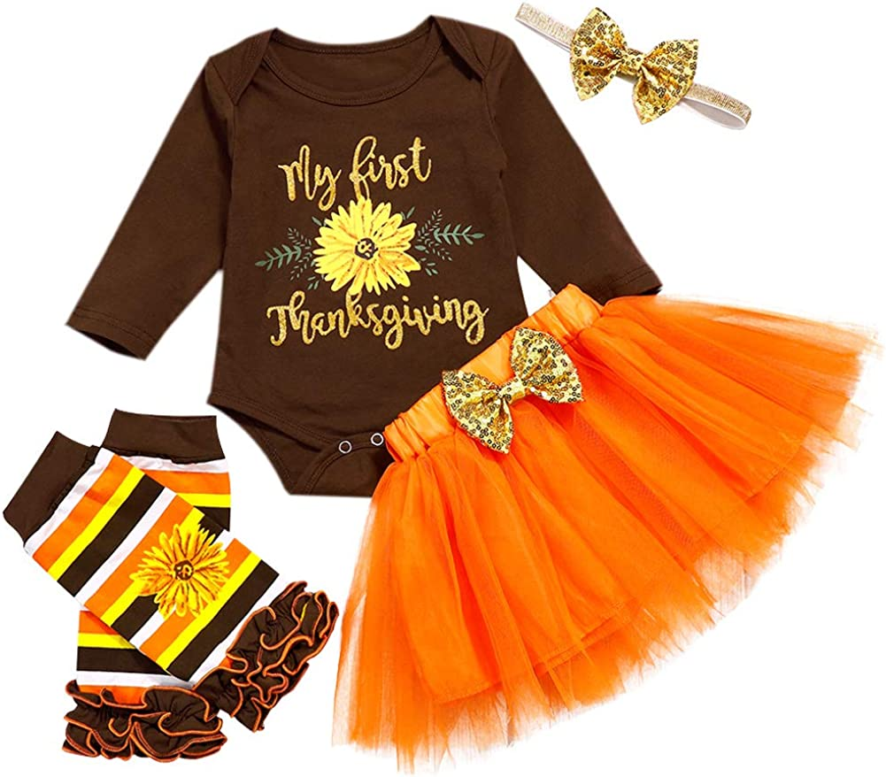 My 1st Thanksgiving Newborn Baby Girls Outfits Romper Bodysuit+Tutu Dress+Leg Warmer+Headband 4pcs Thanksgiving Costume