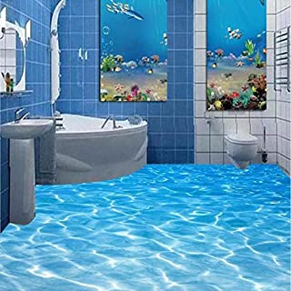 LWCX Custom Photo Wallpaper Beach Seawater Living Room 3D Flooring Mural Paintings PVC Self-Adhesive Wallpaper Home Decor 150x120CM