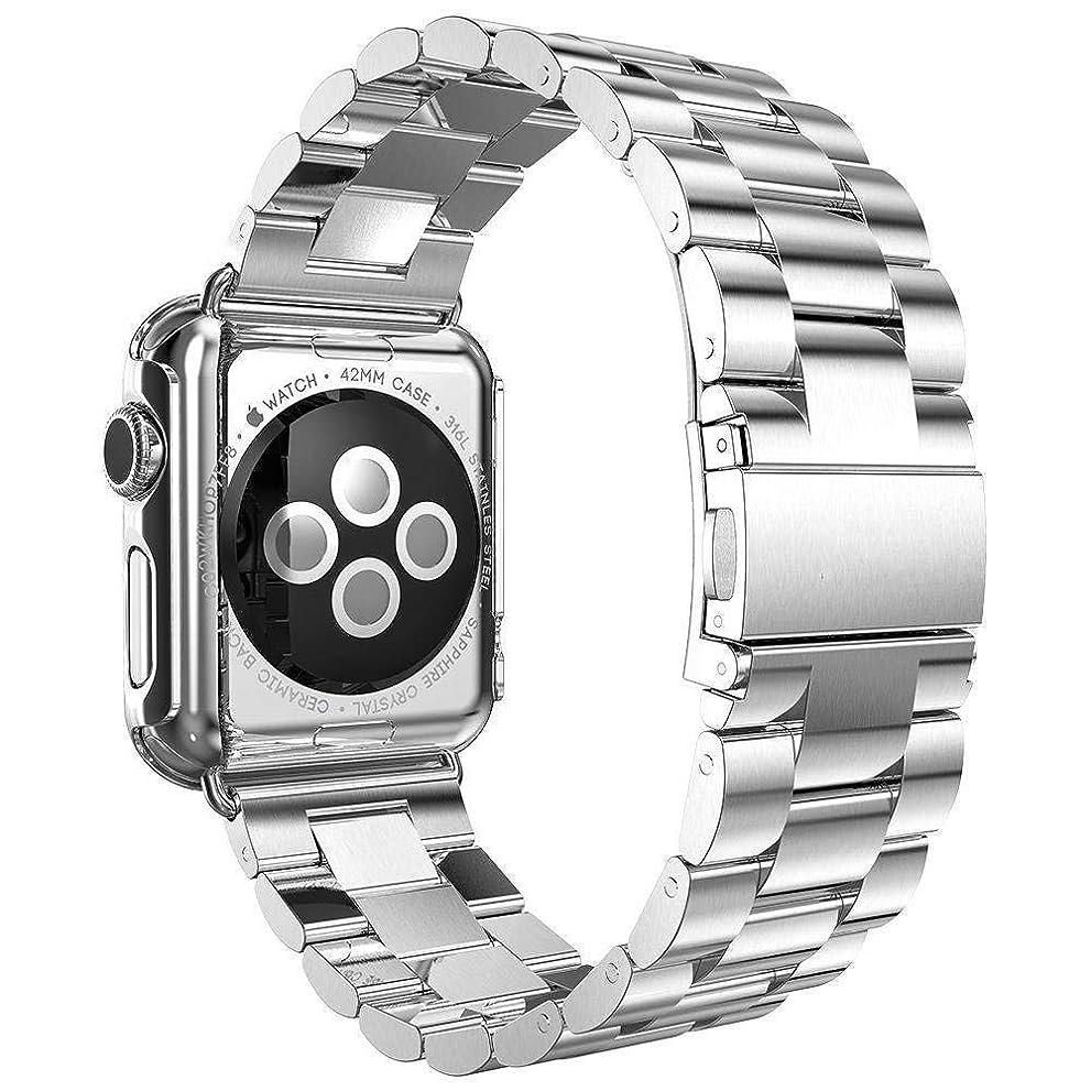一月矩形酒Kartice Compatible Apple Watch/Apple Watch 4/3/2/1バンド 高級ステンレスベルド アップルウォッチ New Apple iWatch Series 4 /Apple Watch Series 3 に対応バンド ラグ付き(42mm,シルバー)