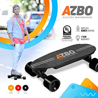Portable Mini Electric Skateboard with Remote Control by AZBO | 400W Motor UL2272 Certified Motorized C9 Skateboard with Wireless Remote | 11 MPH Top Speed Electric Longboard