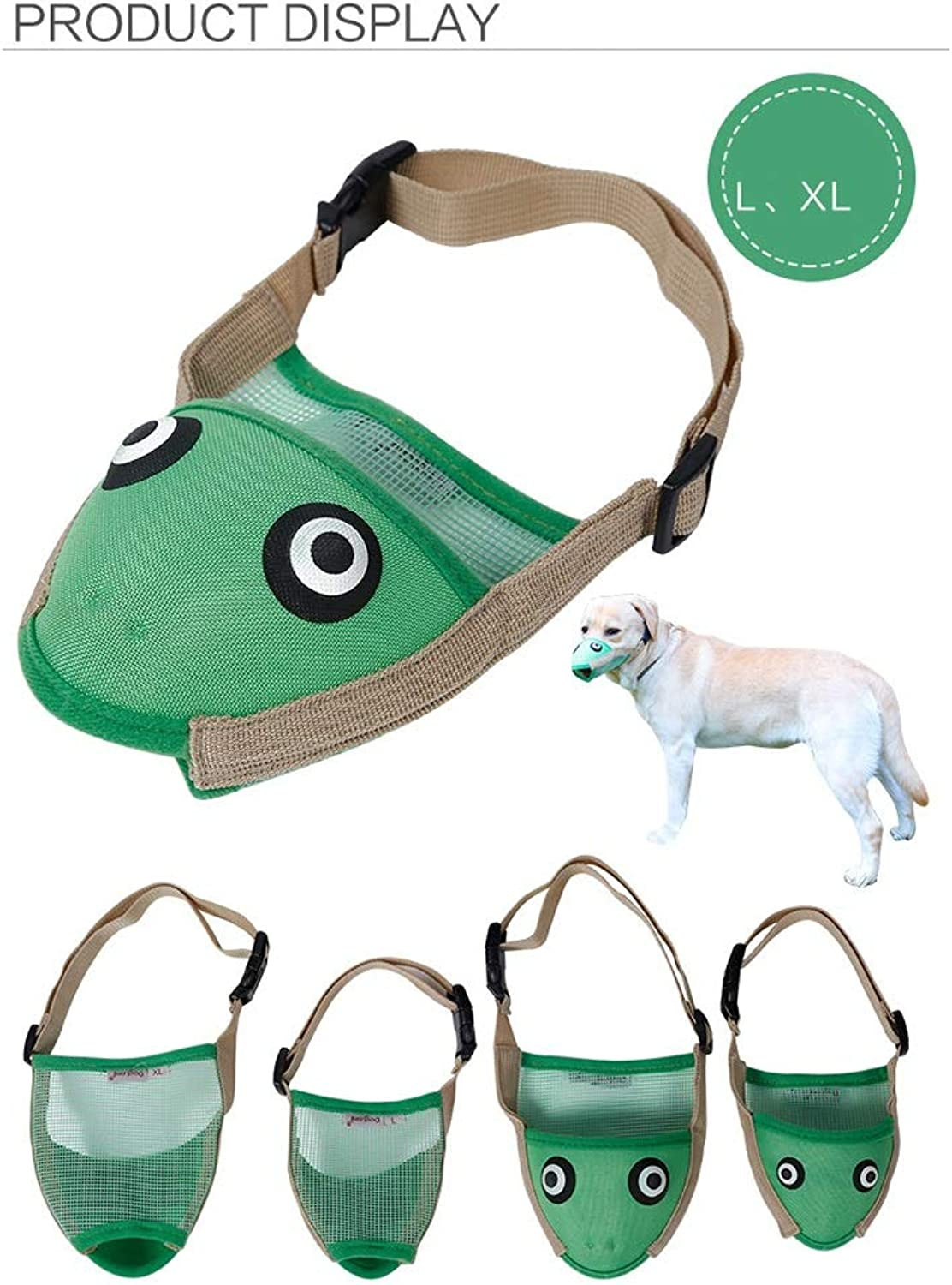 DENTRUN 2 Pack Dog Mouth Covers,Bird Frog Shape Puppy AntiCalled Muzzle Masks Pet Mouth Set Prevent from Biting,Barking and Chewing,Breathable Adjustable Soft Oxford Fabric
