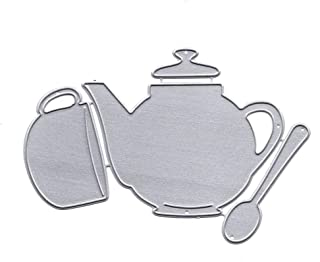 Classic Teapot Spoon Cup Shape Cutting Die Carbon Steel Dies Cuts Stencils Perfect for DIY Scrapbooking Album Paper Card Making Supplies (Silver)