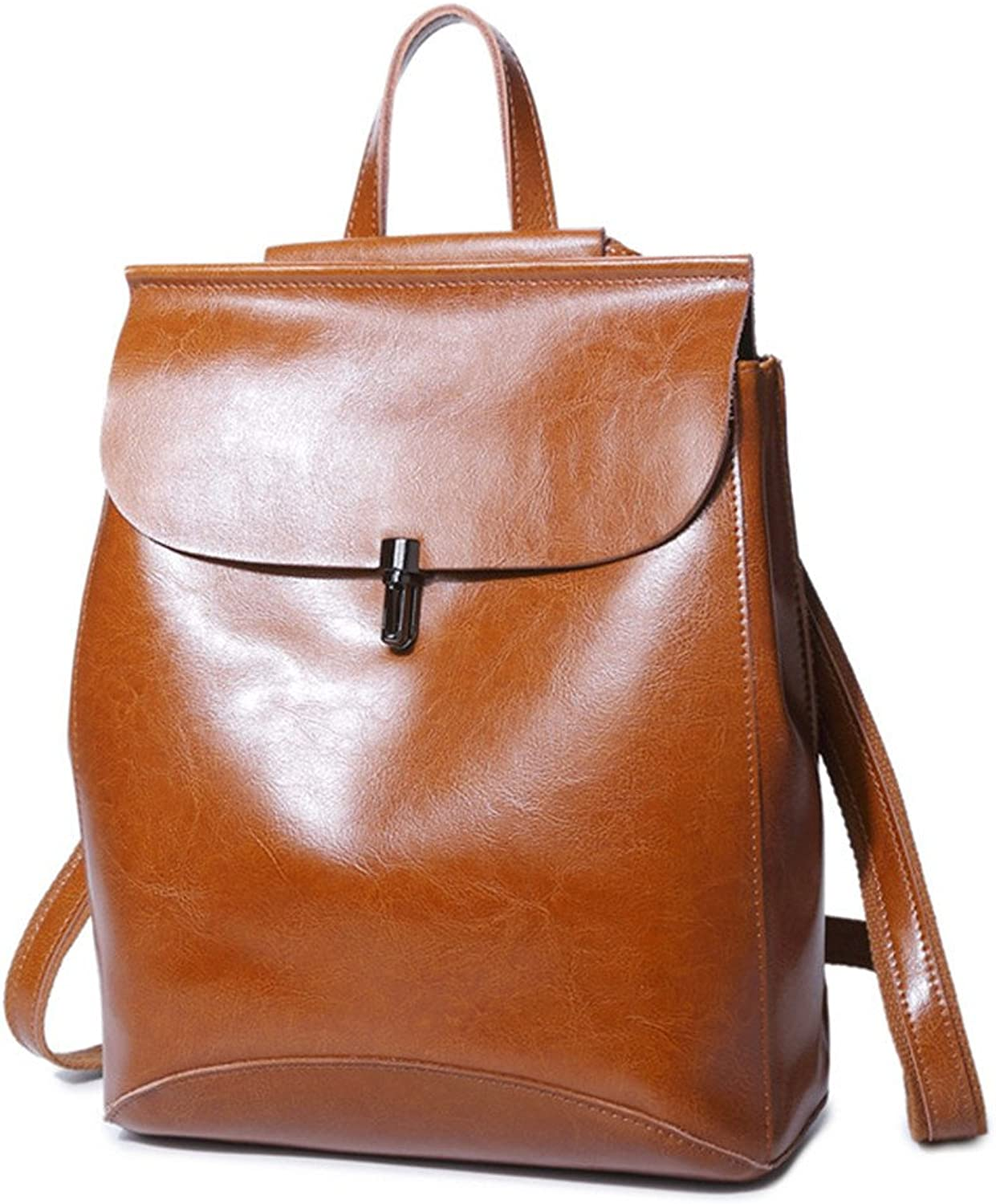 Leather Canvas Ms Cross Shoulder Messenger Bag Travel Oil Wax Cowhide Backpack Brown