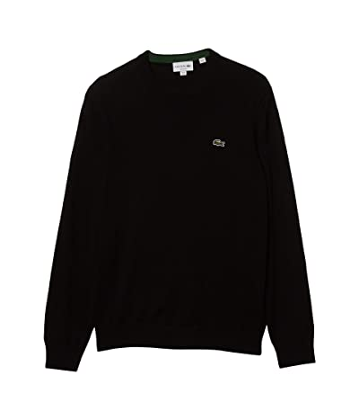 Lacoste Long Sleeve Crew Neck Sweater (Black) Men