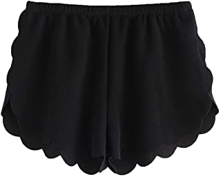 MakeMeChic Women's Casual Elastic Waist Scalloped Summer Beach Lounge Shorts