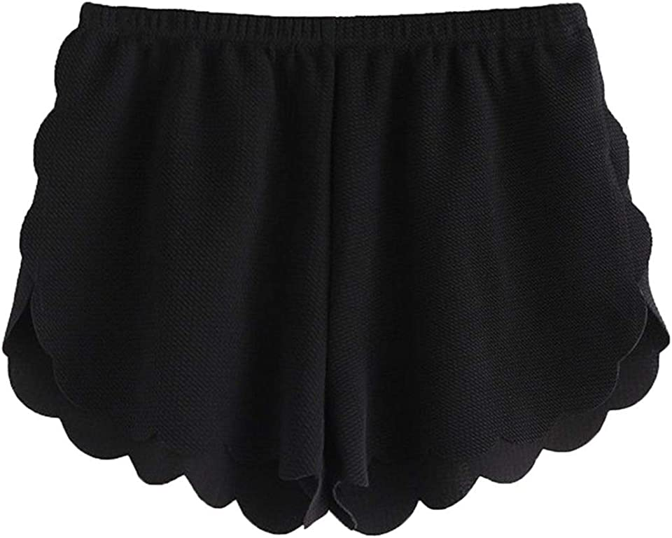 MakeMeChic Women's Casual Elastic Waist Scalloped Summer Beach Lounge Shorts