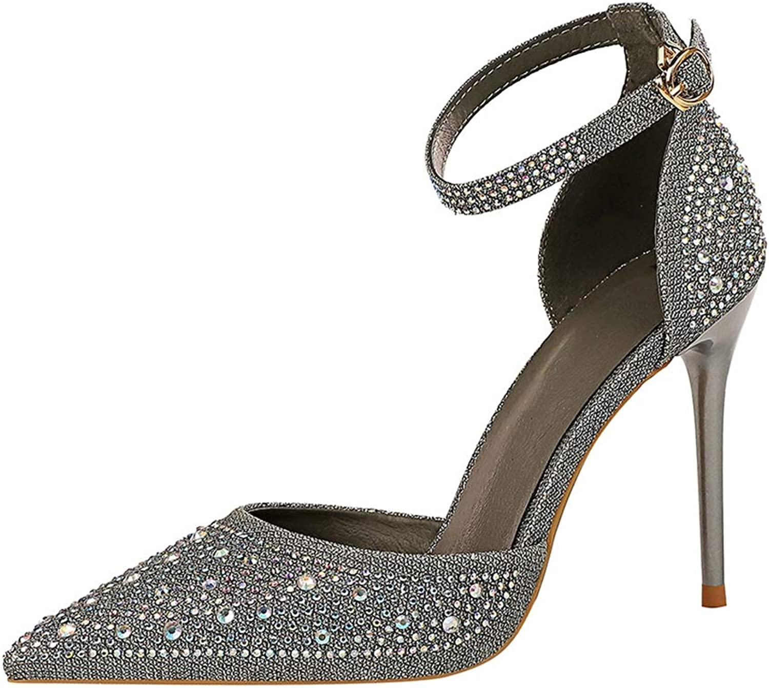 Drew Toby Women Pumps Shallow Pointed-Toe Ankle Strap Shiny Rhinestone Elegant High Heels