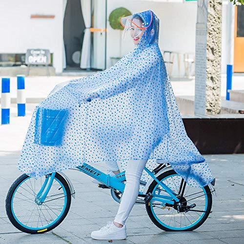 SHUHANX Wasserdichter Regenmantel Poncho Einteiliger Regenmantel Poncho Fahrrad Einzelperson mit Ärmeln Reiten Poncho Wassertropfen blauXXXL