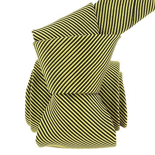 Segni et Disegni - Cravate Soie Classique Segni Disegni, Como Rayée Jaune Et Noir