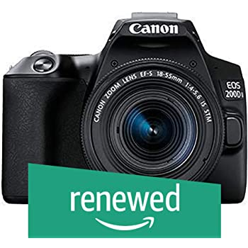 (Renewed) Canon EOS 200D II 24.1MP Digital SLR Camera + EF-S 18-55mm is STM Lens + EF-S 55-250mm is STM Lens (Black)
