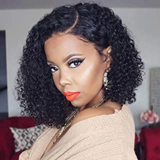 Jaja Hair Short Bob Wigs Human Hair Lace Front Wigs For Black Women Brazilian Virgin Hair Curly Bob Wigs Remy Hair Wigs 12 Inches