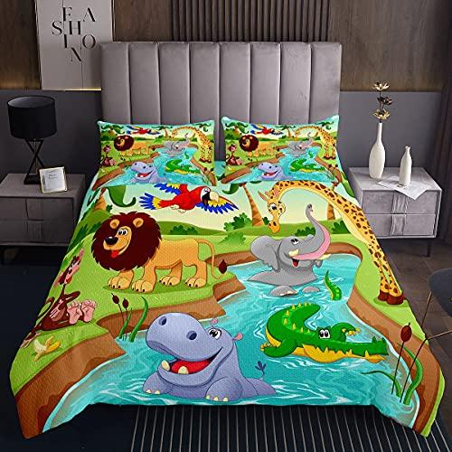 The Lake Animal Lions and Giraffe Art - Colcha acolchada para niños, diseño de animales de safari