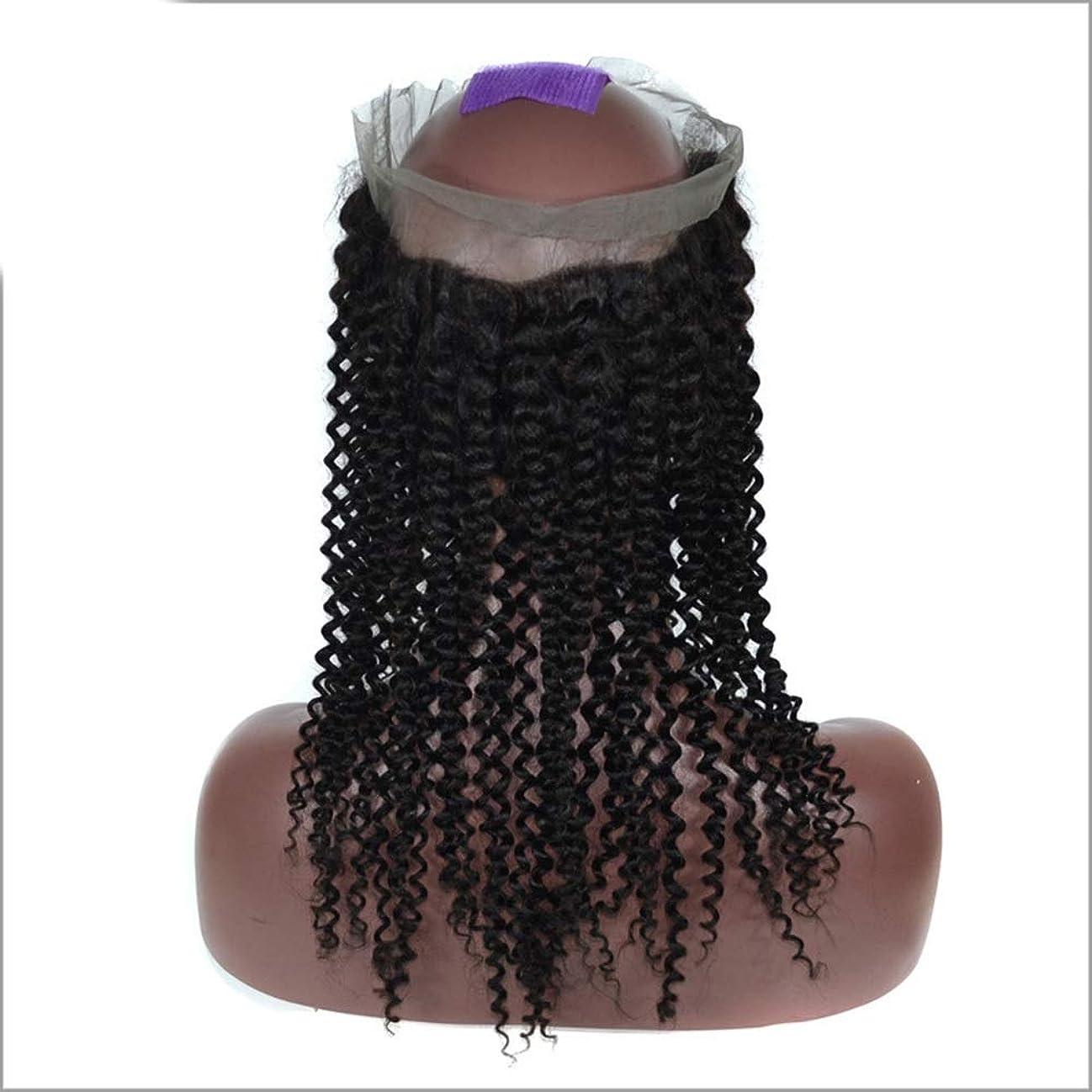 海里伝記休憩するBOBIDYEE 女性3/4ウィッグハーフ - 変態カールウェーブ - ナチュラルカラー 本物の人間の髪の毛 - クリップのヘアピースエクステンションパーティーかつら (色 : 黒, サイズ : 14 inch)