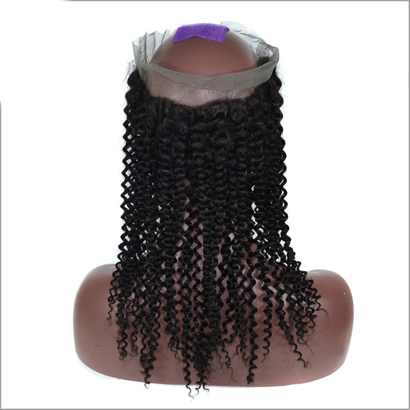 試みるマイナス内向きYESONEEP 女性3/4ウィッグハーフ - 変態カールウェーブ - ナチュラルカラー 本物の人間の髪の毛 - クリップのヘアピースエクステンションパーティーかつら (色 : 黒, サイズ : 8 inch)