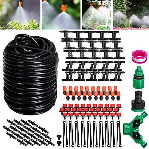 Tencoz Kit di irrigazione a Goccia, 30m Set di Irrigazione Regolabile Sistema di Irrigazione da Giardino DIY Kit di Micro Irrigazione Automatico per Giardino Serra Impianto Prato-149pcs