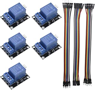 KeeYees 5pcs 1 Channel 5V Relay Module Board Shield KY-019 LED Indicator for Arduino Raspberry Pi PIC AVR DSP ARM + 3pcs 20CM 10Pin Female Male Dupont Jumper Wires