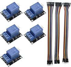 KeeYees 5pcs 1 Channel 5V Relay Module Board Shield KY-019 LED Indicator for Arduino Raspberry Pi PIC AVR DSP ARM + 3pcs 20CM 10Pin Female Male Jumper Wires