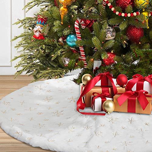 Aitsite Weihnachtsbaum-Plüsch-Teppich,weihnachtsschmuck, Plüsch Stoff Schneeflockenmuster Weihnachtsbaum Rock mit Schutz vor Tannennadeln Weiß-Schnee-WeihnachtsthemaVerzierung (122cm)