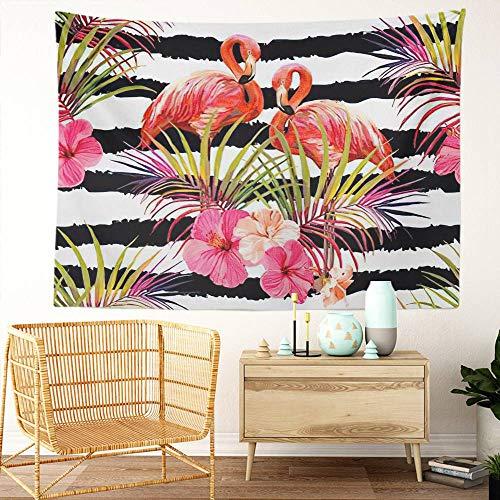 Y·JIANG Tapiz de verano floral, hojas tropicales de palmera, flamenco, hibisco, decoración para el hogar, dormitorio, manta ancha para colgar en la pared, 203 x 152 cm