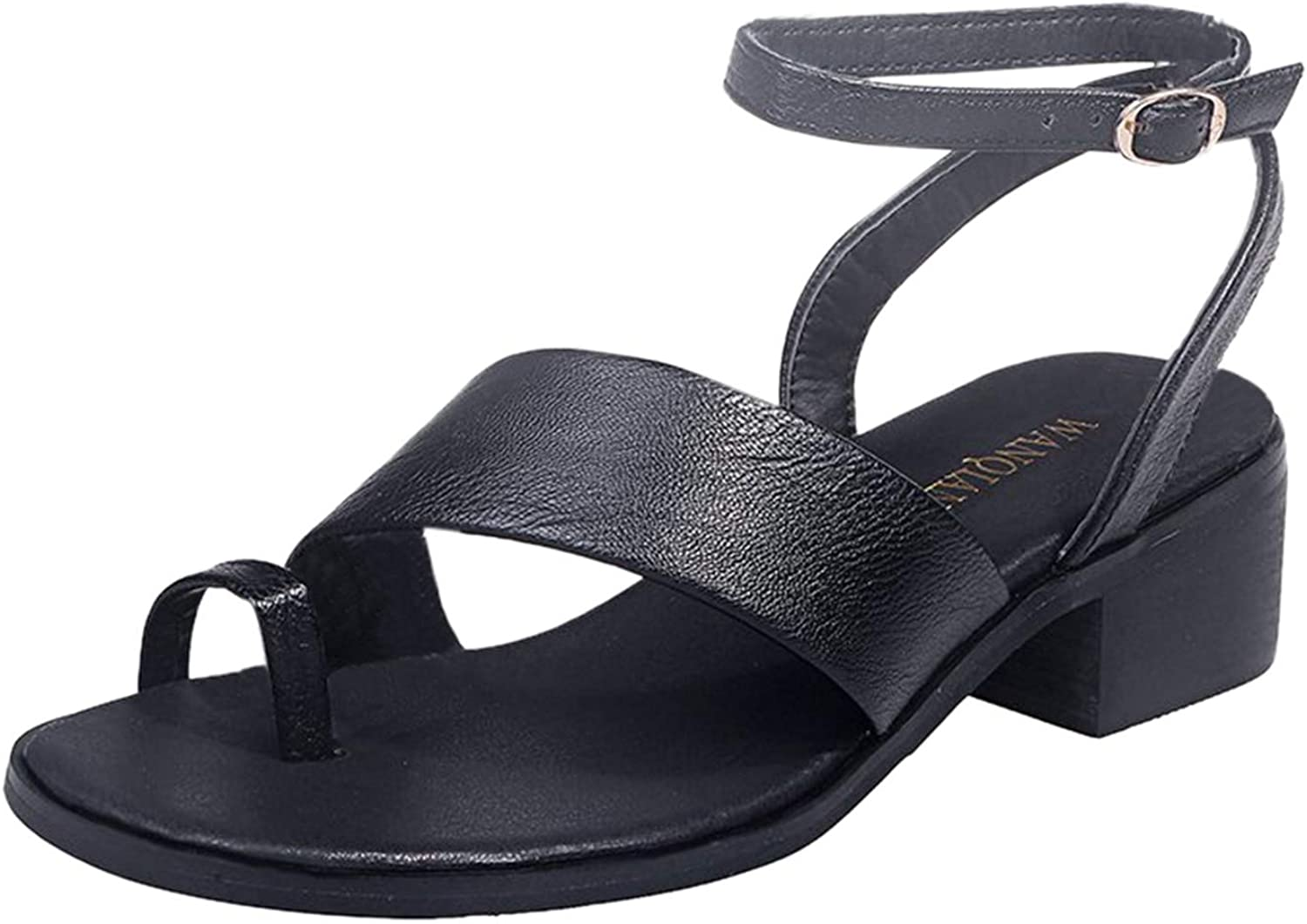 Women's One Detroit Mall Band Ankle Strap Sandals Long-awaited and Soft Flat