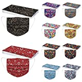 50pcs Flower Print Disposable_Face_Mask For Adults Women Colored Cute Design Paper Masks 3 Ply Full Face Cover Protections (15)