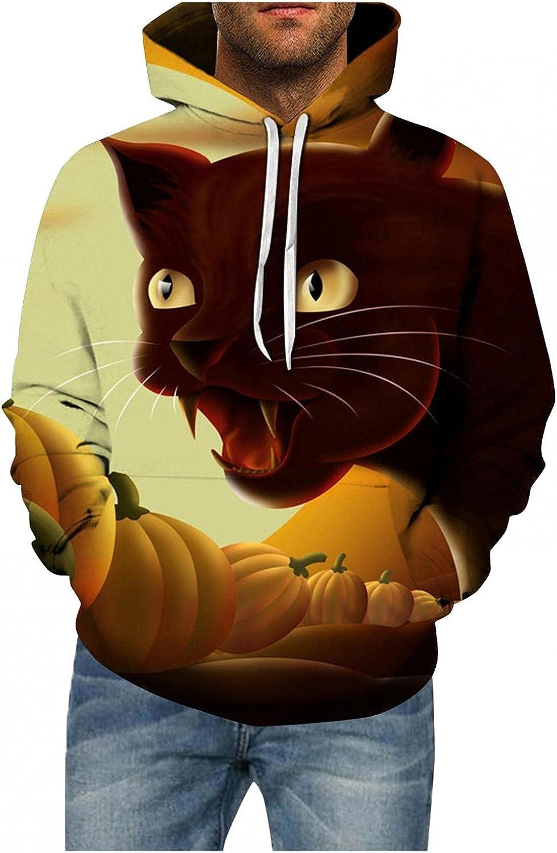 Halloween Mens Hoodies Pullover Cat Printed Tops Sweatshirts Loose Long Sleeve Shirts Hoodies for Women