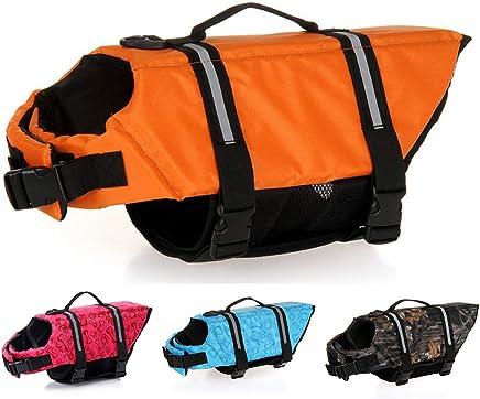 Dog Life Jackets Pet Safety Swimsuit Floatation Life Vest Preserver - Durable Grab Handle Adjustable Belt with Reflective Strips - Pool/Beach/Boating for 3-40KG Dogs (Orange 23-40KG)