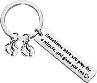 Mom of Twins Gift Sometimes When You Pray for a Miracle god Gives You Two Twin Mom/Dad Keychain Gift Twin Mom Jewelry Gifts for Mothers Day