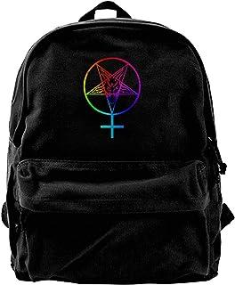 Mochila de lona feminista satánico pentagrama larga para gimnasio, senderismo, portátil, bolsa de hombro para hombres y mu...
